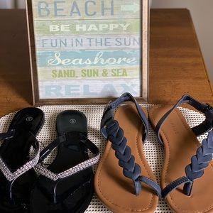 Shoes - Black Sandals Patent Leather Rampage Blue Sz 9
